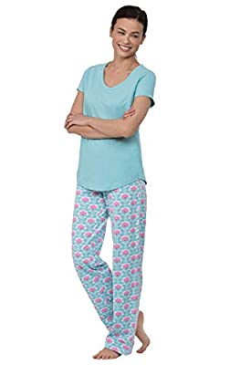 PajamaGram Pajamas Women Cotton Jersey - Women's Pajama Sets, Aqua, M, 8-10 from PajamaGram