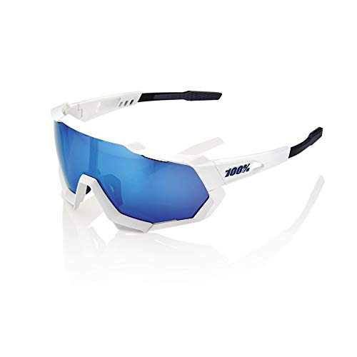 Desconocido 100% Speedtrap - Gafas de ciclismo unisex para adulto, color blanco mate y espejo azul