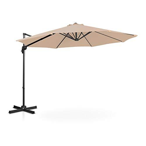 Uniprodo Ampelschirm Uni_Umbrella_2R300CR Gartenschirm (rund, Ø 300 cm, drehbar, Creme)