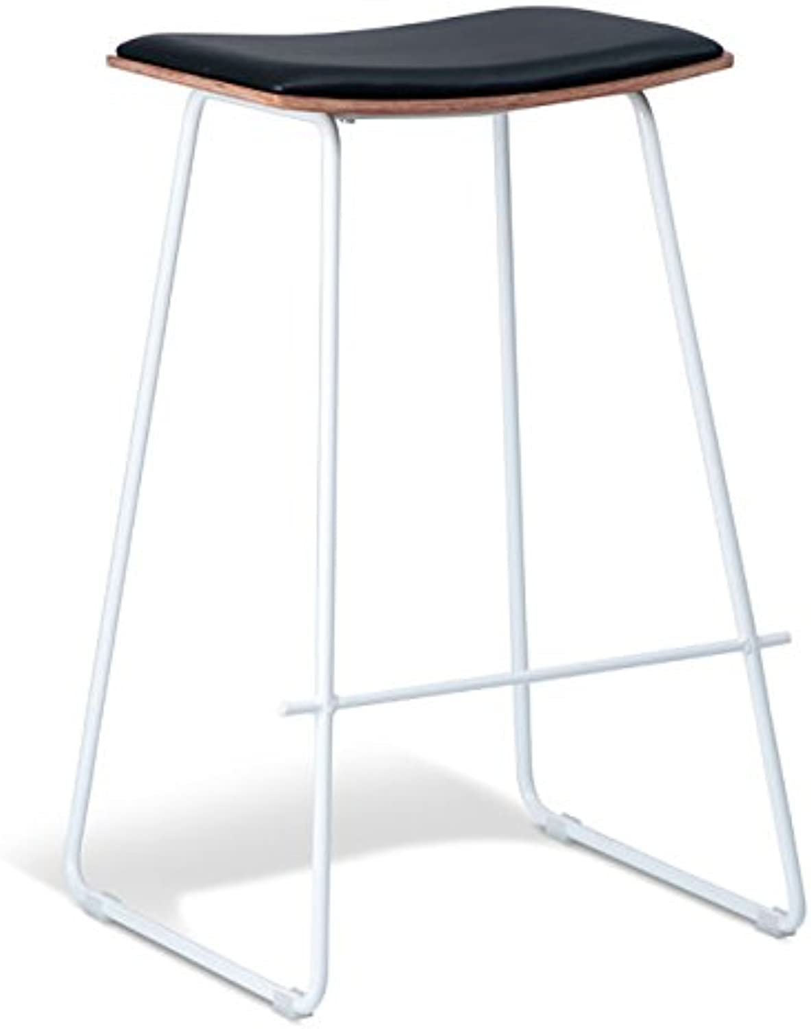 New Set of 2 - Yvonne Potter Replica Y Porter Bar Stool 73m - White Frame - Natural Veneer - Black Cushion Seat