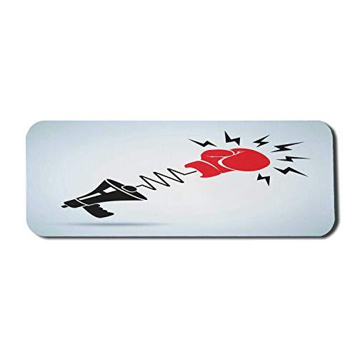 Modernes Computer-Mauspad, protestierender Boxer-Sport-Handgelenk-Schlag-Kampf-Widerstands-Plakat-Druck, rechteckiges rutschfestes Gummi-Mauspad großes dunkles Korallenbabyblau