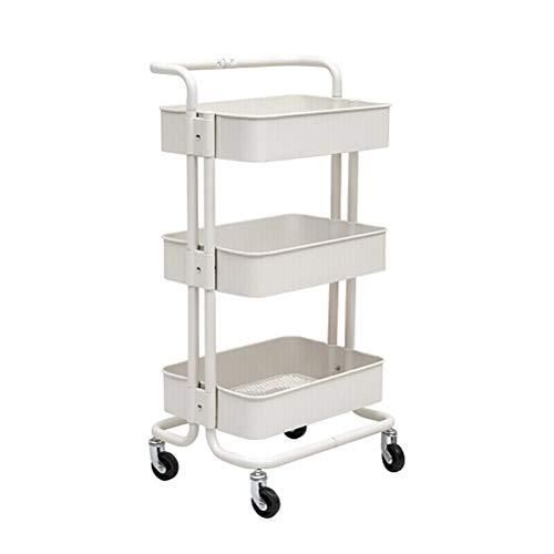 Kitchen Furniture - Chariot de Rangement à la Mode en Acier au Carbone à 3 Niveaux, Tablette de Travail avec Roues WXP (Couleur : Blanc, Taille : 45X35X87CM)