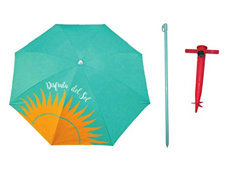 Pincho Sombrilla de Playa de Acero con Recubrimiento antióxido .180 cm de diámetro. 8 Varillas de Acero 3 mm de Grosor. Factor protección Solar UPF 100+