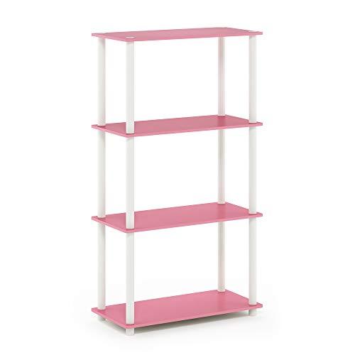 Furinno Turn-N-Tube 4-Tier Multipurpose Shelf Display Rack, Single, Pink/White