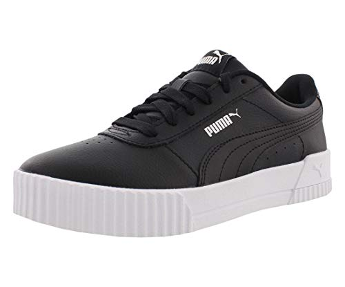 PUMA Women's Carina Sneaker Black White Silver, 7