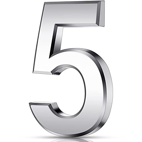 3 Zoll 3D Mailbox Nummern Selbstklebende Hausnummern Wasserdichte Adress Nummern Tür Straße Nummer Aufkleber für Haus Mailbox Apartment Hotel Tür Zimmer, Silber (5)