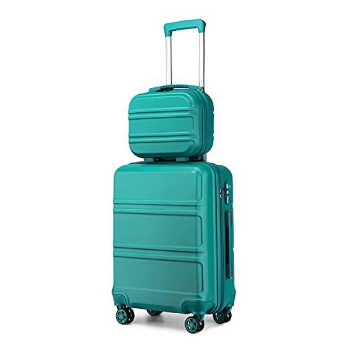 Kono 2er Kofferset ABS Hartschalen Hardcase Trolley TSA-Schloß 55cm Reisekoffer Boardcase + Handgepäck Kosmetikkoffer (Türkis)