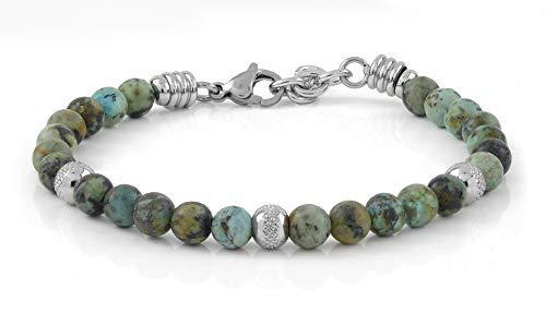 10:10 Bracciale con pietre naturali turchese africano a da 6 mm beads in acciaio inox, bracciale molto resistente prodotto in Italia…