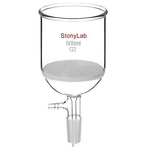 StonyLab Glas Buchner Trichter Filter, Borosilikatglas Vakuum Buchner Filtertrichter 500ml mit Mittlerer Fritte(G2), 94mm Scheibendurchmesser, 100mm Tiefe, mit 24/40 Standard-Taper-Innengelenk