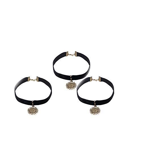 Fliyeong 3 stücke Vintage Kragen Halskette pu Leder Choker Sonne anhänger Hals Dekoration für Frauen Geschenk schwarz hohe qualität