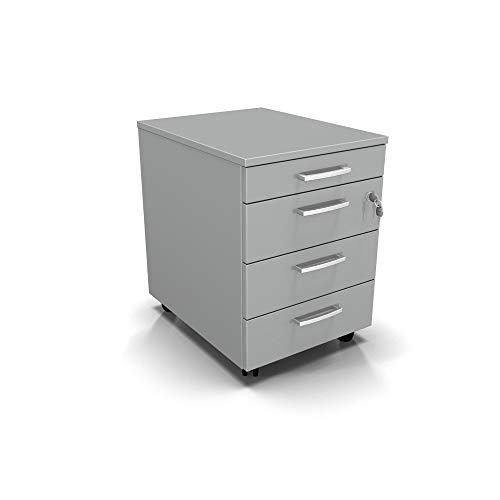 Cassettiera da Ufficio con Rotelle, Tre Cassetti e Un Cassetto Portacancelleria - Montaggio Facile (Grigio, L 42 x P 56 x H 61 cm)