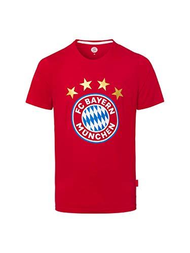 FC Bayern München T-Shirt Logo München FCB rot kompatibel + Sticker München Forever, Tshirt, T Shirt, Munich, (L)