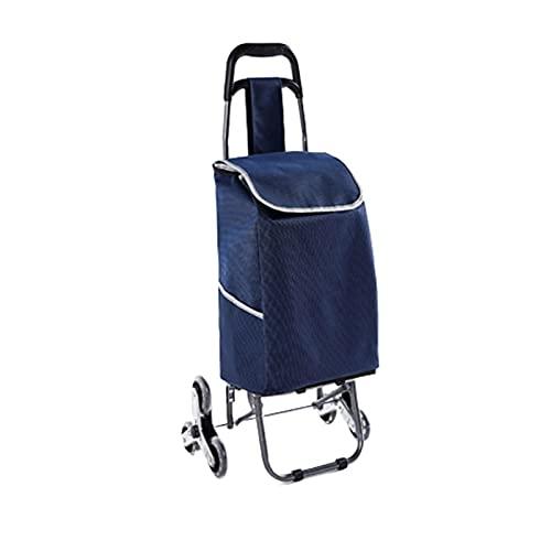 LICHUAN Carrito de la compra plegable con marco de aleación de aluminio, carrito de la escalera azul para compras, oficina, carrito de compras de viaje (color azul)