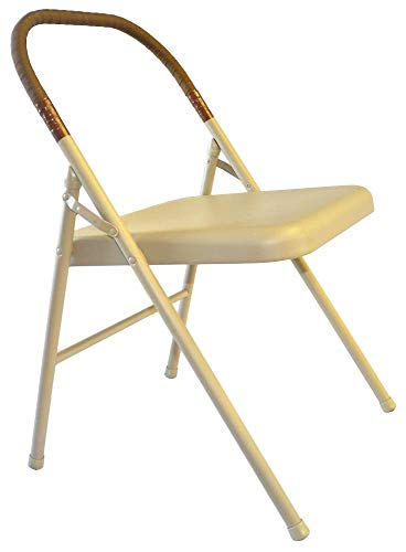 Pune Yoga Chair - Buff Chair with Brown Wrap