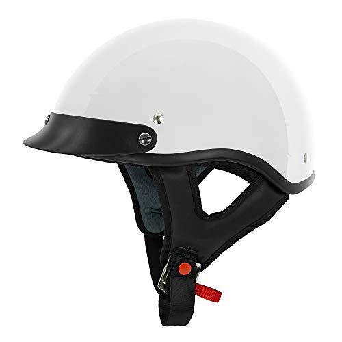 VCAN Cruiser Gloss White Motorcycle Half Helmet (X-Small)