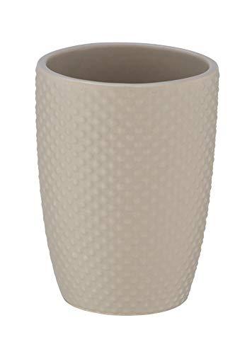 WENKO Bicchiere portaspazzolini Punto sabbia - Portaspazzolino per spazzolini e dentifricio, Ceramica, 8 x 11 x 8 cm, Beige