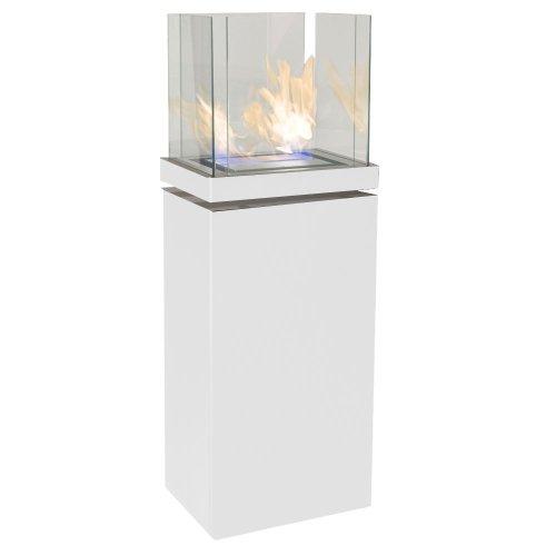 High Flame 1,7 L weiss gebürsteter Edelstahl Ethanolkamin von Radius Design - 555 l