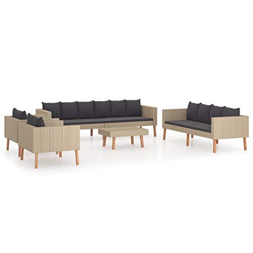 vidaXL Gartenmöbel 5-TLG. mit Auflagen Sitzgruppe Lounge Sofa Garnitur Sitzgarnitur Gartenset Couchtisch Couch Gartensofa Poly Rattan Beige