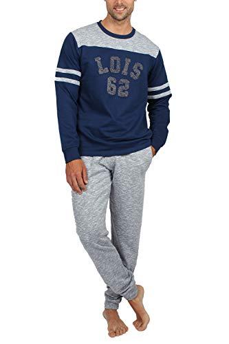 Lois Pijama Manga Larga Indoor para Hombre, Color Azul,