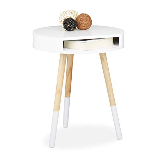Relaxdays Bijzettafel, hout, met opening, salontafel, h x b x d: ca. 48 x 40 x 40 cm, wit