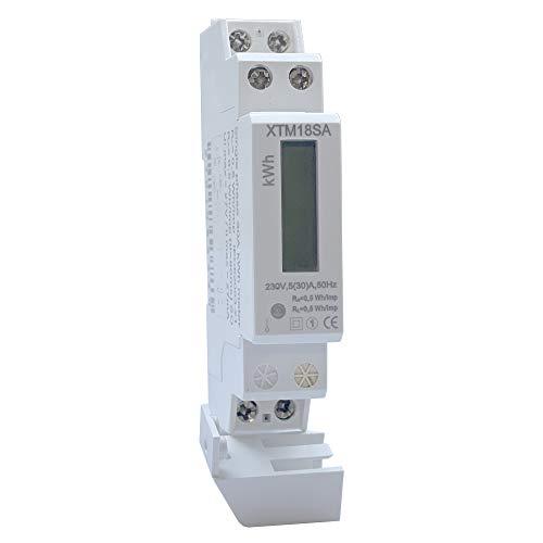 JVJ LCD Wechselstromzähler 5(30) A 230V Stromzähler 1 Phase Wattmeter KWH Hutschiene