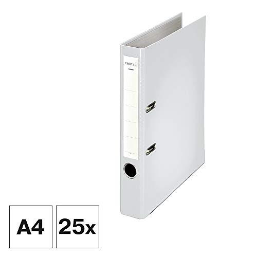 Centra Standard-Ordner (grauappe RC, mit PP-Folie kaschiert, A4, 5,2 cm Rückenbreite, Chromos) weiß, 25 Stück