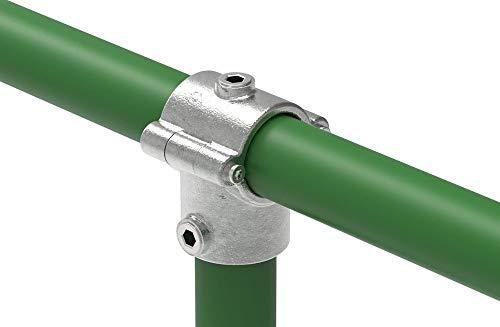 Fenau | T-Stück/T-Verbinder, aufklappbar, inkl. Bolzen, 90°, Ø 33,7 mm, Rohrverbinder, Temperguss galvanisiert, feuerverzinkt, inkl. Schrauben