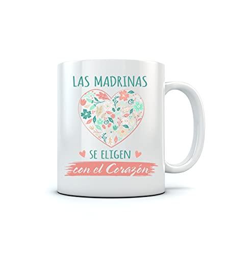 Tazas Bonitas con Frases y Dibujo - Taza De Desayuno para Familia - Taza Madrina Original - Las Madrina se Eligen con el Corazón 350ml Blanco