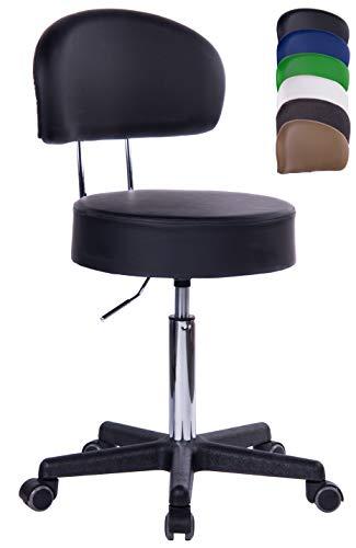 1stuff® Profi Rollhocker Rollstuhl Squash XL - 40cm Sitzbreite - bis 180kg - Sitzhöhe bis ca. 73cm - Arzthocker Arbeitshocker Bürohocker Drehhocker (Lederimitat schwarz - Lehne Bigback)