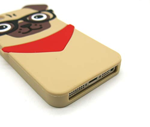 Iphone 5 5S SE Case, 3D Cute Cartoon Hipster Pug Dog Silicone Case for Iphone 5 5s se Pet Doggie Fashion Protective Cell Phone Cover Boys Girls