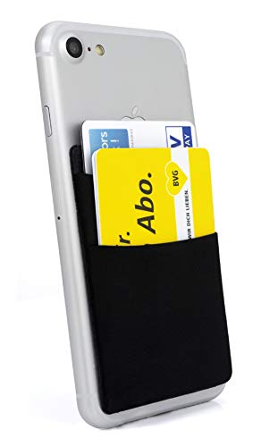 MyGadget 2 Fächer Kartenhalter für Smartphones RFID Blocking - Haftendes Kartenfach, Kartenhülle, Karten Halterung - Handy Geldbörse Etui Wallet Schwarz