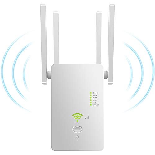 Dupelec Ripetitore WiFi Wireless,1200Mbps WiFi Extender Dual Band 5GHz/2.4GHz Amplificatore Access Modalità AP/Repeater/Router 4 Antenne Compatibile con Modem Fibra e ADSL[Con istruzioni in italiano]