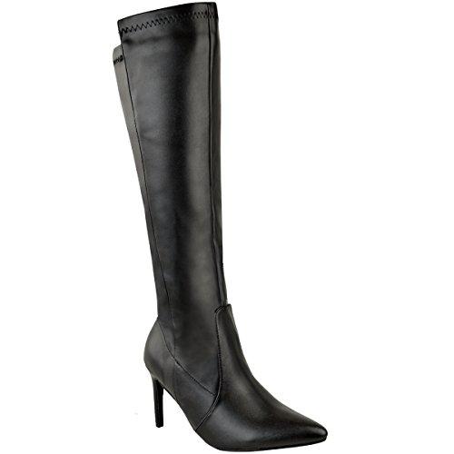 Damen Stretch-Stiefel mit Mittelhohem Stiletto-Absatz - Schwarzes Kunstleder - EUR 40