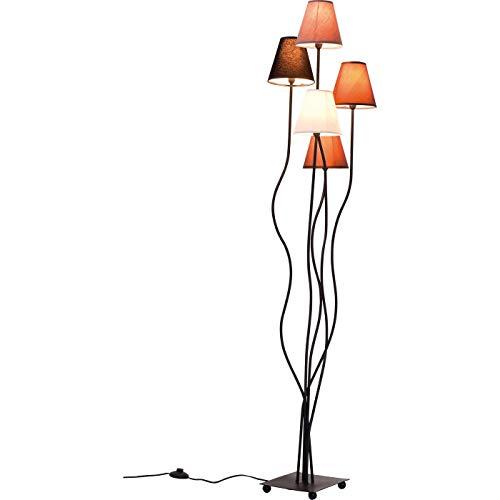 Kare Design Stehleuchte Flexible Mocca Cinque, Retro Design Stehlampe, dezente Leselampe, Standleuchte mit bunten Stoffschirmen (Weiß, Schwarz, Braun, Grau), (H/B/T) 163x40x35cm