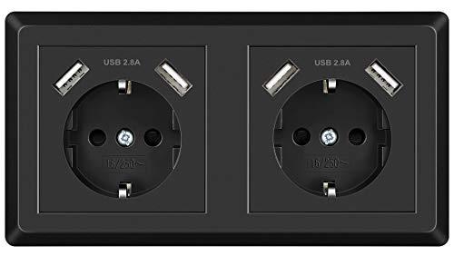 Doppelsteckdose, USB Steckdose Schwarz System 55 Schutzkontakt-Steckdose Passt in Standard 2-fach Unterputzdose, Wandsteckdose Unterputz für Smartphone MP3 Aufladung
