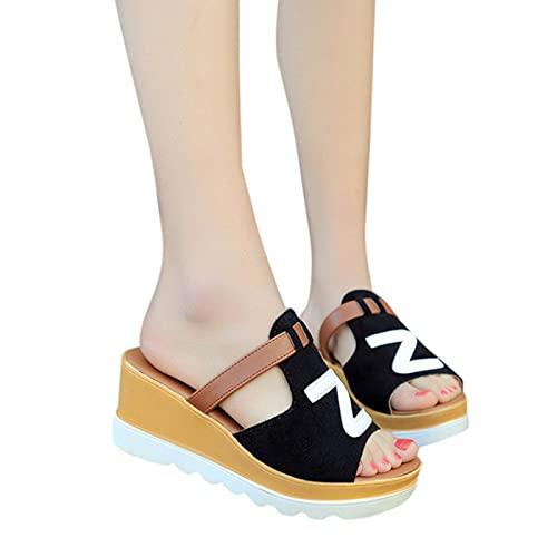 DZQQ Verano Slip On Mujer Cuñas Sandalias Plataforma Hip Hop Rock Moda Punta Abierta Señoras Zapatos Casuales Promoción cómoda ⭐