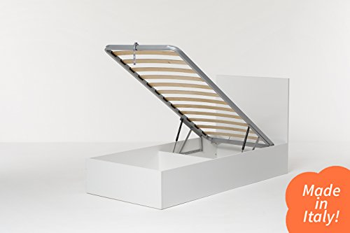 Cangù, Hi Box Letto Contenitore, Bianco, 90 x 190 cm