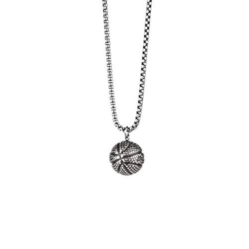 Pareja collar baloncesto titanio acero hombres collar colgante accesorios (Plata antigua)
