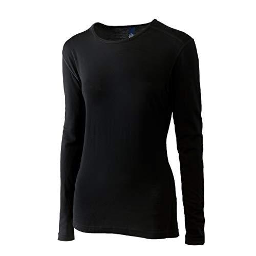 Roman Trail Outfitters Merino Wool Women's Long Sleeve Top  Crew Neck Shirt   Lightweight   Moisture Wicking   Base Layer (Black, Small)