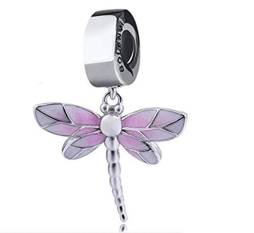 Bolenvi Colgante de plata de ley 925 con diseño de libélula rosa con clip para pulseras o collares similares