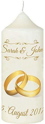 Livingstyle & Wanddesign Kerze zur Hochzeit mit eigenem Namen und Datum, (Motiv 11) Weiß