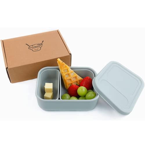 Fiambrera de silicona para niños – Eco Lunch Box – Bento Box guardería, sin BPA, adecuado para microondas, lavavajillas, Bento, Corea (gris claro)