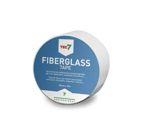 TEC7 Cinta de sellado de fibra de vidrio, 50 mm x 20 m, esquinas interiores y exteriores, elementos de construcción, juntas, juntas de dilatación, grietas