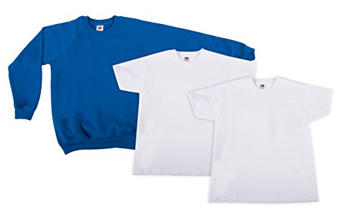 Fruit of the Loom 2Original T + 1Sweatshirt Kids T-Shirt, Mehrfarbig (Multicoloured 14), Ans (Lot de 3) Garçon