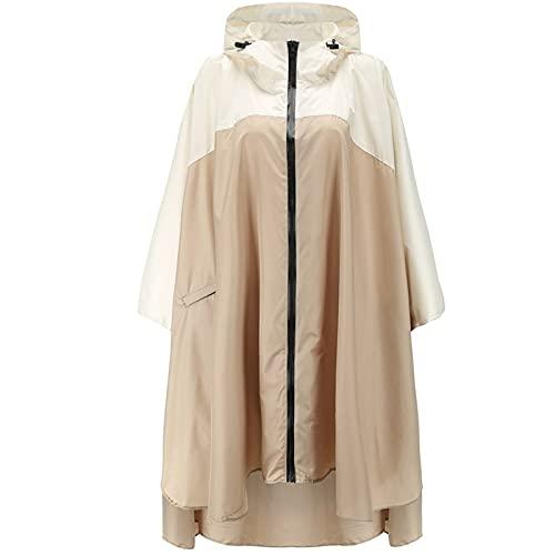 Cappotto antipioggia per uomo e donna, alla moda, impermeabile, leggero, con chiusura lampo e cappuccio antivento, cachi, Taglia unica