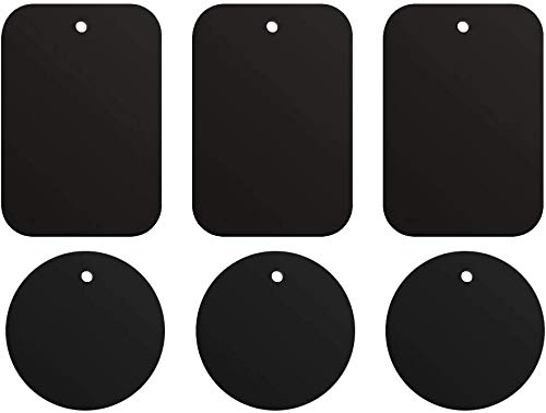 ivoler Plaque Aimant Telephone Voiture, 6 pièces Plaque Métalliques Aimants, Aimant Autocollant, avec adhésif, pour Support Telephone Voiture Porte magnetique(3 rectangulaires+ 3 Rondes)