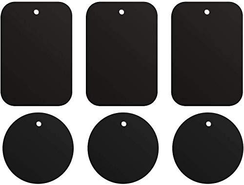 ivoler 6 Piezas láminas Metálicas, Muy Finas Reemplazo de Placas de Metal con Adhesivo para Soporte Movil Coche Magnético/Soporte iman movil Coche - 3 Redondas y 3 rectangulares,Negro