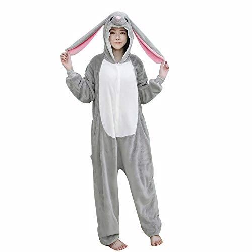 Lop Onesies para Adultos Pijamas de Animales Mujeres Conejito Hombres Pijama de Dibujos Animados Cosplay Disfraz de Halloween Divertido Pijamas de una Pieza L