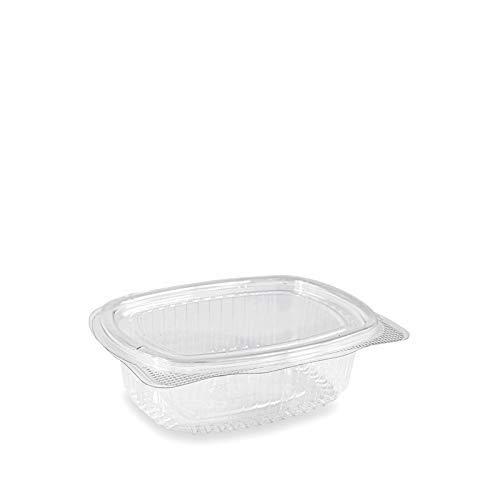 VIRSUS Vaschette ovali in Pet Scatola da 100 vaschette Trasparenti 250cc USA e Getta con Coperchio Unito - Contenitori monouso di plastica con Chiusura ermetica