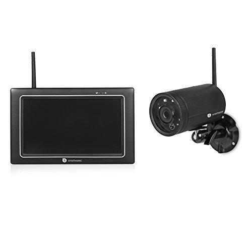 Smartwares CMS-31098 Digitale videocamerasysteem, draadloos, 4-kanaals HD-camerasysteem met 7 inch aanraakscherm en draadloze camera/met opnamefunctie en live weergave via app iOS en Android, zwart